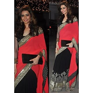 Karishma Tanna Red And Black Color Half And Half Saree