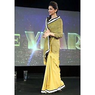 Deepika Padukone In Yellow And Crushed Mustard Designer Half And Half Saree