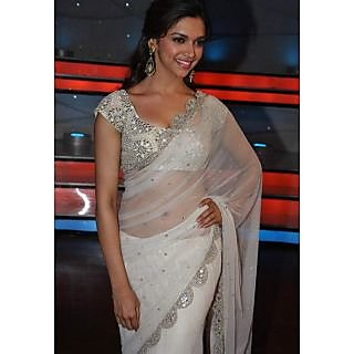 Deepika Padukone Bollywood Style White Net Saree