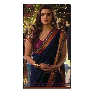 Alia Bhatt Navy Blue Georgette Saree