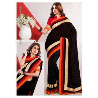 Black Georgette Saree With Dupian Blouse