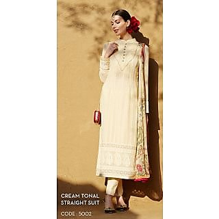 KFHub Cream Straight Long Embroidered With Print Pure Georgette Dress Material