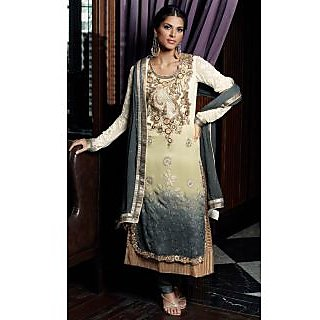 Vessido Designer Cream And Grey Suit With Dupatta