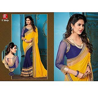 INDIAN DESIGNER BOLLYWOOD REPLICA ACTRESS YELLOW & NAVYBLUE BRIDAL WEDDING SAREE