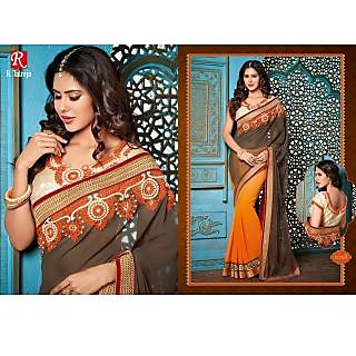 INDIAN DESIGNER BOLLYWOOD REPLICA ACTRESS DUST & ORANGE  BRIDAL WEDDING SAREE