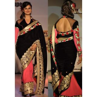 Divyanka Tripathi Black And Peach Designer Saree