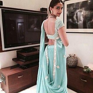 Sonam Kapoor Coral Blue Saree With Silver Border Embellishments