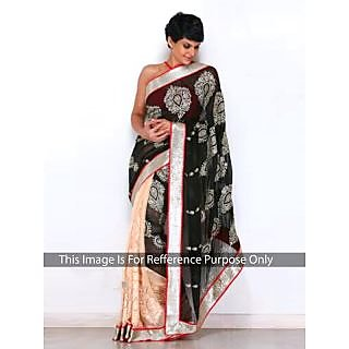 Mandira Bedi Black And Cream Bollywood Style Saree