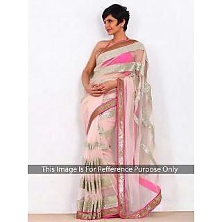 Mandira Bedi Baby Pink Bollywood Style Saree
