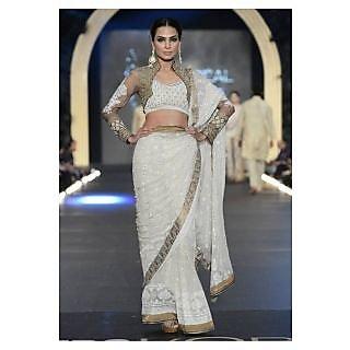 Designer White And Gold Bollywood Replica Saree
