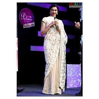 Deepika Padukone White Embroidery Net Designer Saree