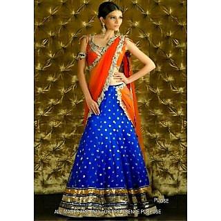 Blue & Orange Bollywood Replica Lehenga