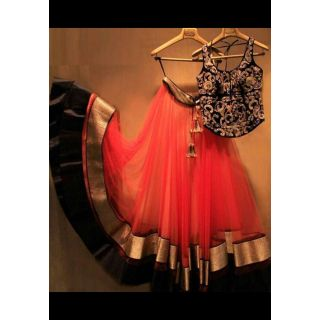 Designer Wear Red Net Lehenga With Laces