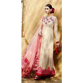 KFHub Beige & Pink Long Anarkali Embroidered With Print Pure Georgette Dress Mat