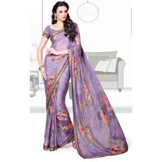 Vessido Designer Stylish Purple Brasso Saree