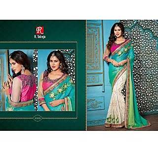 INDIAN DESIGNER BOLLYWOOD REPLICA ACTRESS FIROJI & GREEN BRIDAL WEDDING SAREE