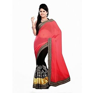 Home Deal Pure Georgette Embroidered Saree Red And Black