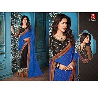 Indian Designer Bollywood Replica Actress Royal Blue Black  Bridal Wedding Saree