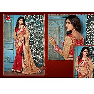 INDIAN DESIGNER BOLLYWOOD REPLICA ACTRESS CHICKOO & RED BRIDAL WEDDING SAREE