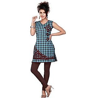 Women's Beautiful Turqoise Cotton Kurti