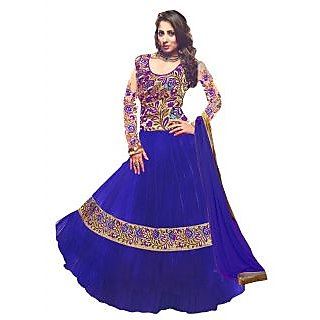 Latest Light Blue Designer Net Anarkali Suits
