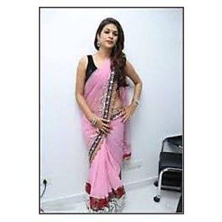 Richlady Fashion Shraddha Das Georgette Border Work Pink Plain Saree