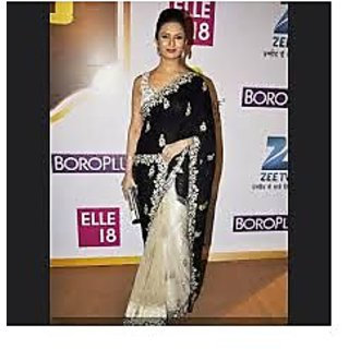 Richlady Fashion Divyanka Tripathi Georgette Border Work Black & Cream Saree