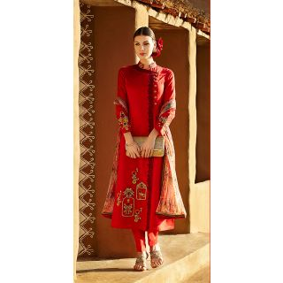 KFHub Red Straight Long Embroidered With Print Pure Linan Dress Material