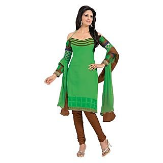 F9 Casual Wear Green Unstitched Dress Material