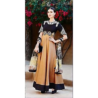 KFHub Black & Brown Long Anarkali Embroidered With Print Pure Lion Dress Materia