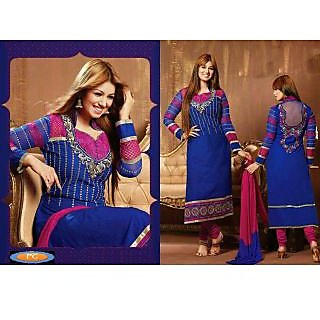 Ayesh Takia Long Cotton Blue Salwar Kameez Suit