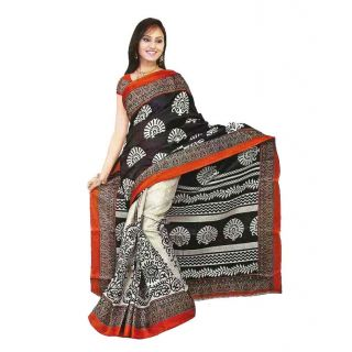Gee Black Half'n'half  Bhagalpuri Printed Saree With Blouse Piece
