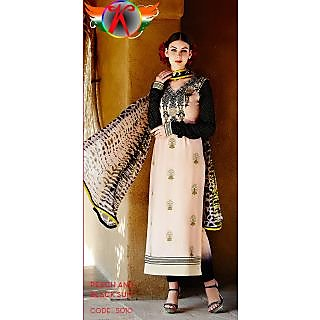 KFHub Peach & Black Straight Long Embroidered With Print Pure Cotton Satin Dress