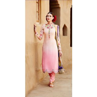 KFHub Light Pink Straight Long Embroidered With Print Pure Cotton Satin Dress Ma