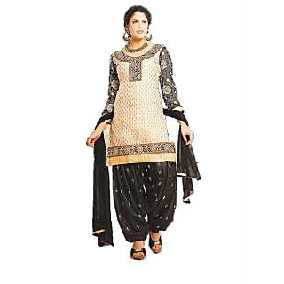 Latest Banarsi Chanderi Jaqard Off White Black Salwar Kameez
