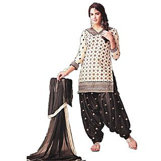 Latest Banarsi Chanderi Jaqard Black & Off White Salwar Kameez