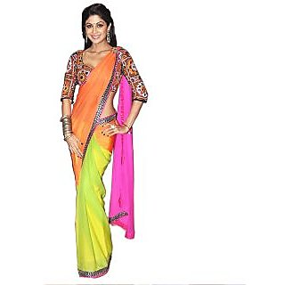 Czar Indian Glorious Bollywood Party Wear Saree-Multi Color