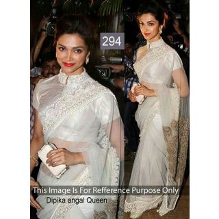 Dipika Off White Net Bollywood Designer Saree