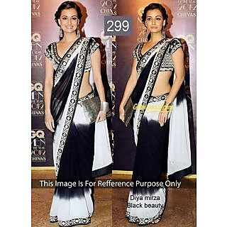 Diya Mirza Black And White Georgette Bollywood Saree