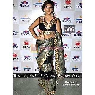 Black With Zari Embroidery Work Bollywood Saree