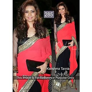 Karishma Tanna Pink And Black Half N Half Bollywood Saree
