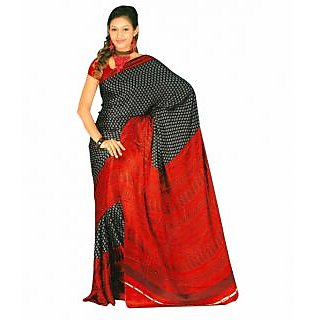 Gee Black And Red Designer Print Saree