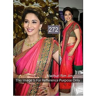 Madhuri Apple Red With Patch Border Bollywood Saree