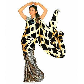 Gee Beige Color Half'n'half Printed Silk Saree