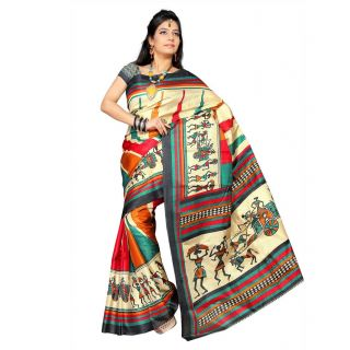 GEE Temple Design Bhagalpuri Silk Saree