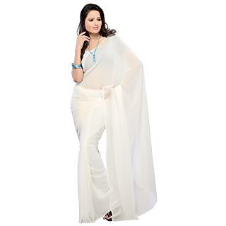 Plain White Designer Indian Bollywood Fancy Partywear Saree Sari