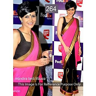 Mandira Bedi Pink And Black Designer Bollywood Saree