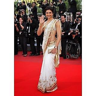 Deepika Cannes Festival White Chiffon Bollywood Saree