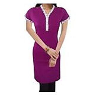 Splendid Purple Knitted Cotton Kurti