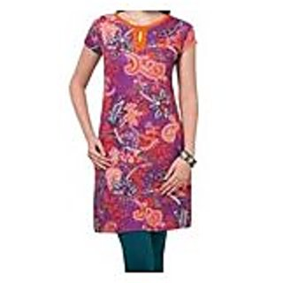 Stylish Pink Printed Knitted Cotton Kurti